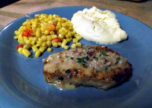Grilled Pork Chops with Dijon Herb Sauce