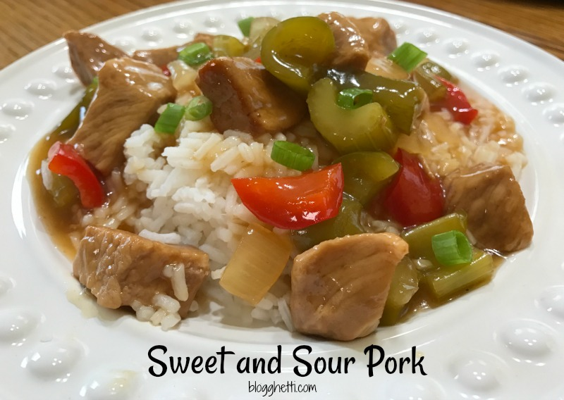 This Sweet and Sour Pork recipe will quickly become a family favorite. The pork slow cooks to a fork-tender, melt in your mouth taste in a sweet and sour sauce. The vegetables are sauteed to tender-crisp and will soak up all of the flavors of the sauce.