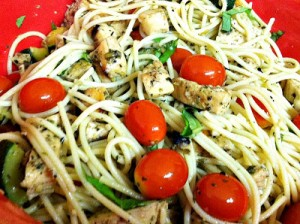 Spaghetti with Grilled Chicken and Tomatoes