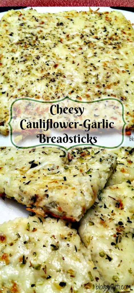 Low Carb Cheesy Cauliflower-Garlic Breadsticks looks and tastes like cheesy bread!