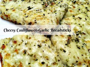 Low Carb Cheesy Cauliflower-Garlic Breadsticks looks and tastes like cheesy bread!