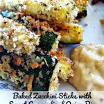 These Oven Baked Zucchini Sticks are coated in Panko breadcrumbs and served with a delicious sweet caramelized onion dip. Perfect appetizer, snack or side dish.
