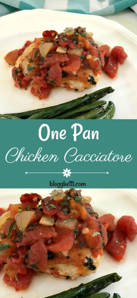 This One Pan Skillet Chicken Cacciatore is simmered in a fire-roasted tomato sauce with peppers, onions, and garlic. Simple and delicious meal for any night of the week.