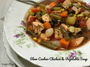 This slow cooker chicken and vegetable soup a hearty meal that is perfect for a chilly night's dinner. Simple to prepare as the slow cooker will simmer this delicious soup all day long and be ready when you walk in the door.