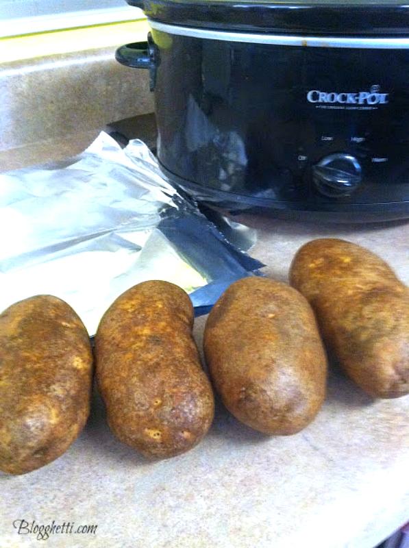 prep crockpot baked potatoes