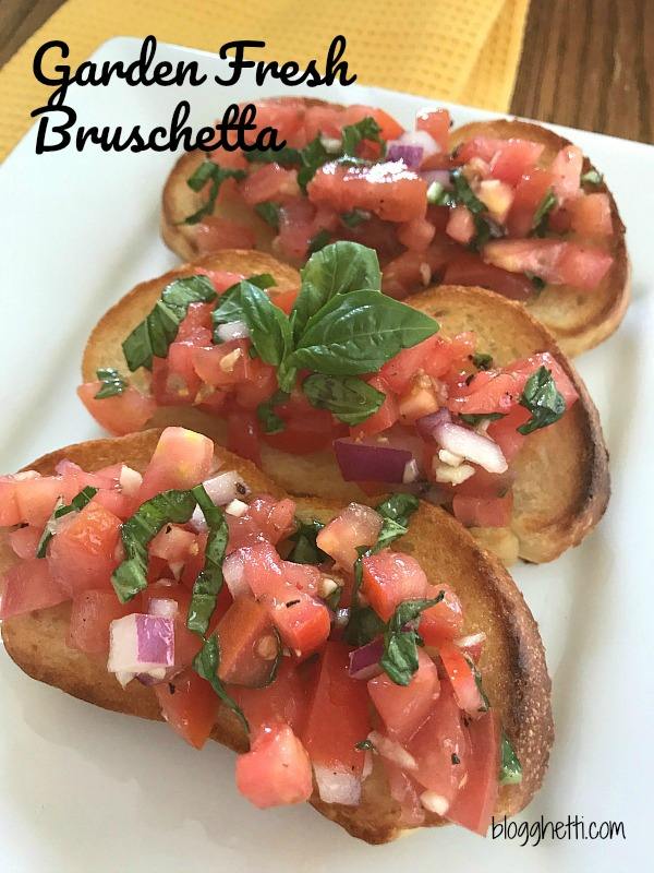 Bruschetta is a perfect way to capture the summer flavors of garden ripened tomatoes, fresh basil, garlic, and olive oil spooned over lightly toasted slices of Italian bread!