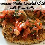 This Parmesan-Panko Crusted Chicken with Tomatoes and Basil recipe is oven fried which means less mess and healthier for you. Topped with garden fresh tomatoes, garlic, and basil, this chicken dish will not disappoint.