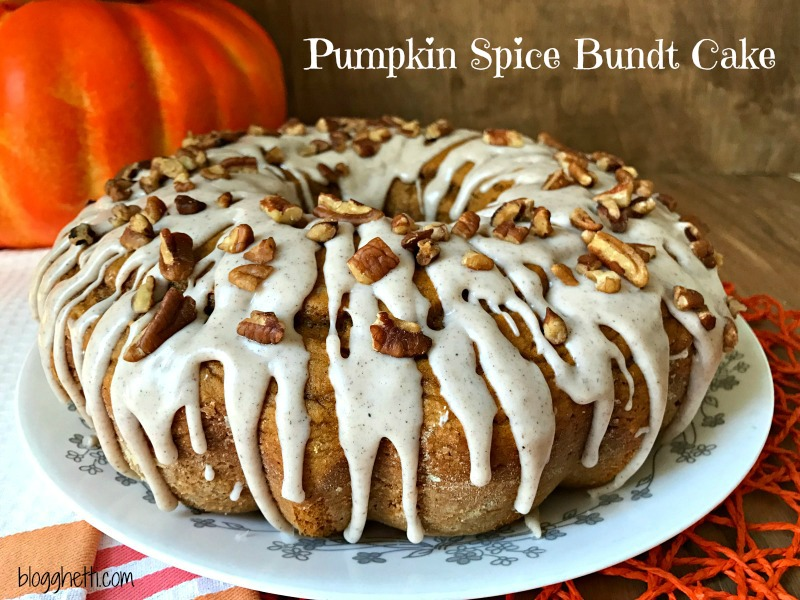... Pumpkin Spice Bundt Cake is topped with a spiced glaze and chopped