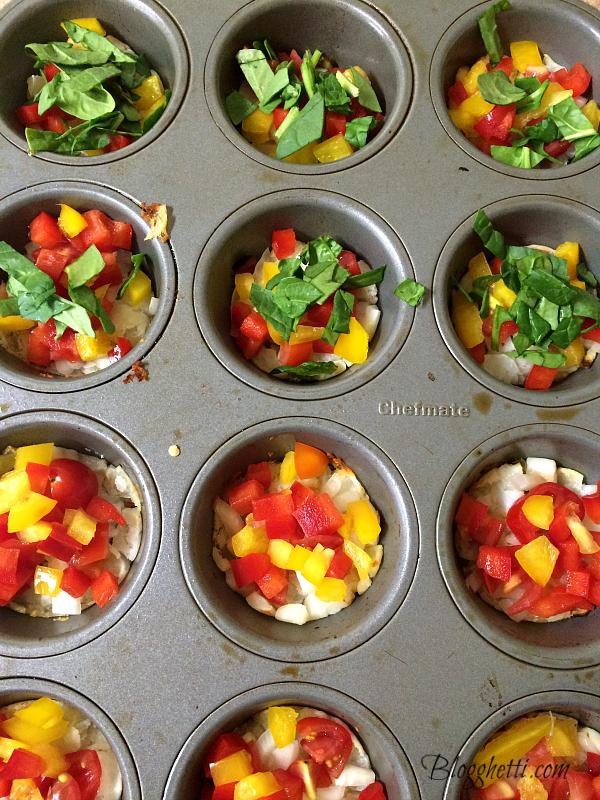 veggies in muffin tin