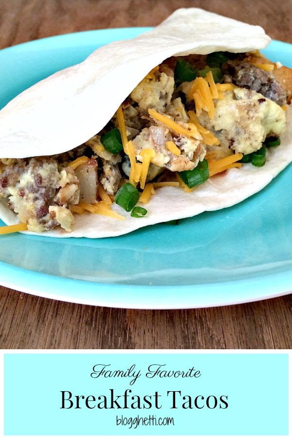 Start the day off right with these tasty and easy Breakfast Tacos. Filled with hash brown potatoes, sausage, eggs, and cheese this breakfast meal will quickly become a family favorite. #breakfast #tacos #eggs #sausage #potatoes