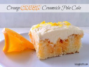I came across this Orange Crush gelatin and it hit me - Poke Cake! Orange Crush Creamsicle Poke Cake to be exact. I love these cakes! The refreshing taste of the cold cake with whipped cream - nothing better on a hot summer day.
