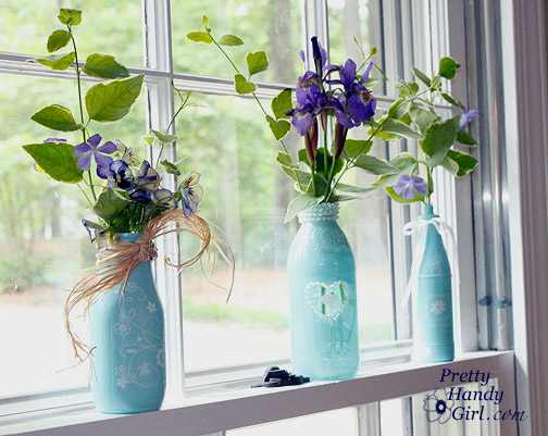 Pretty Handy Girl Spray Painted Glass Jars and Bottles