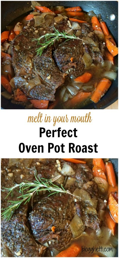 This recipe for the Melt in your mouth Perfect Oven Pot Roast, in fact, is the perfect meal. The meat is slow cooked in the oven with carrots and onions until the meat is fall-apart-tender and the carrots are tender crisp.