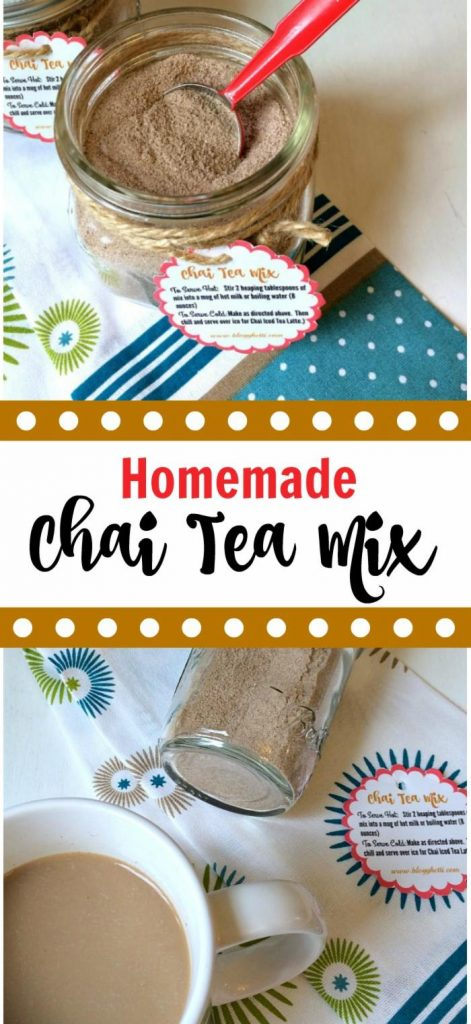 This Chai Tea Mix has all of those wonderful spices and when stirred into warmed milk will give you the taste of that coffee shop Chai Latte without the coffee shop price. If you like to give homemade gifts at the holidays, this Chai Tea Mix is a perfect treat for the tea lover on your list. Fill a few small mason jars with the spicy mixture and attach a pretty ribbon with the specially made gift tag included in this post.