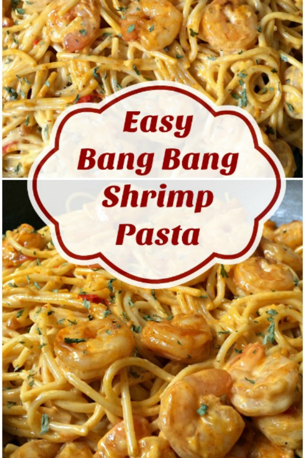 collage of bang bang shrimp with an overlay of words