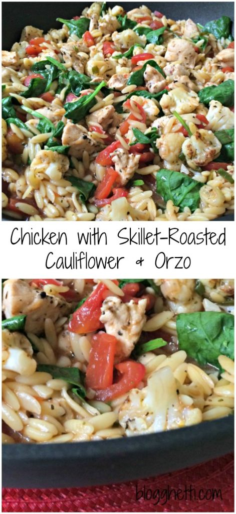 his Chicken with Skillet-Roasted Cauliflower & Orzo dish is loaded with flavors and textures and is ready in 20 minutes. Bump the flavor even more by adding grating Parmesan cheese on top.