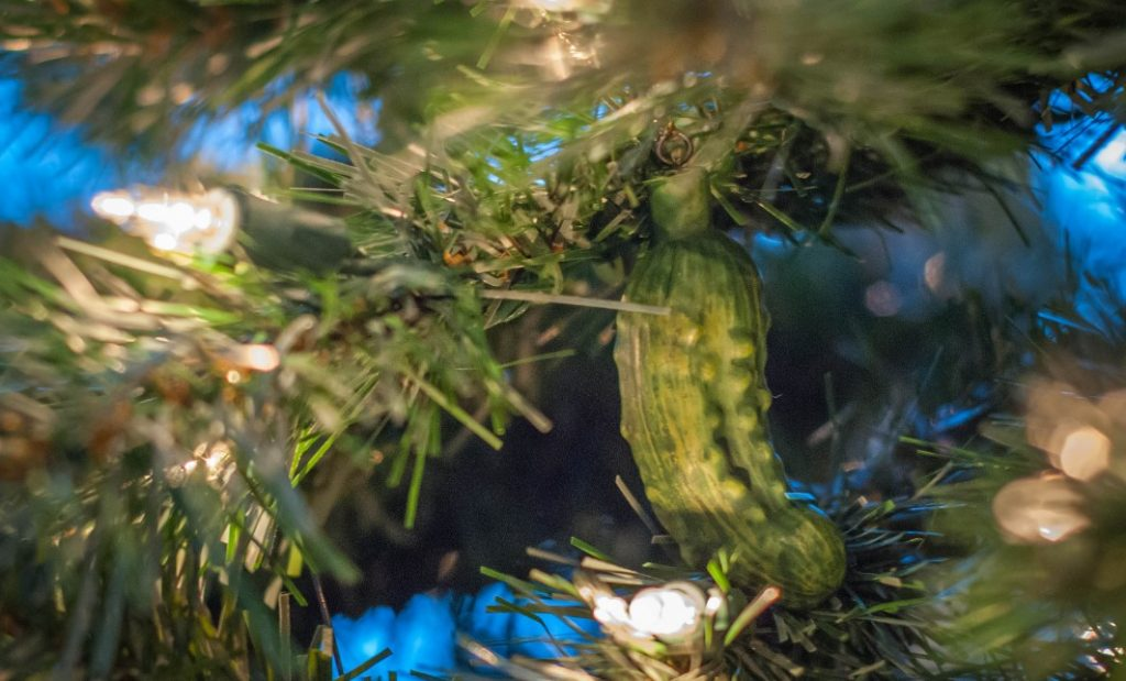 The Christmas pickle is a glass decoration - or sometimes a real pickle - that one hides in the Christmas tree. The person who finds the pickle is said to have good fortune for the upcoming year.