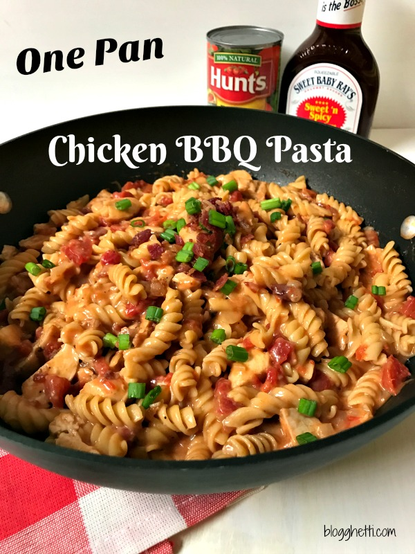 A One Pan BBQ Chicken Pasta dinner loaded with bacon, chicken, cheese and a sweet and spicy BBQ sauce all cooked in one pan for easy clean up! Plus it's ready to eat in less than 30 minutes!