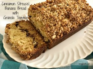Cinnamon Streusel Banana Bread with Granola Topping