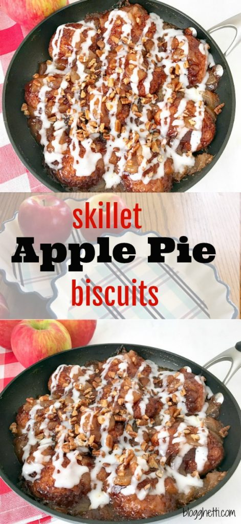 This Skillet Apple Pie Biscuit recipe will quickly become a family favorite. All of the flavors you love in apple pie but with biscuits and a sweet glaze on each and every one of the apple pie biscuits.
