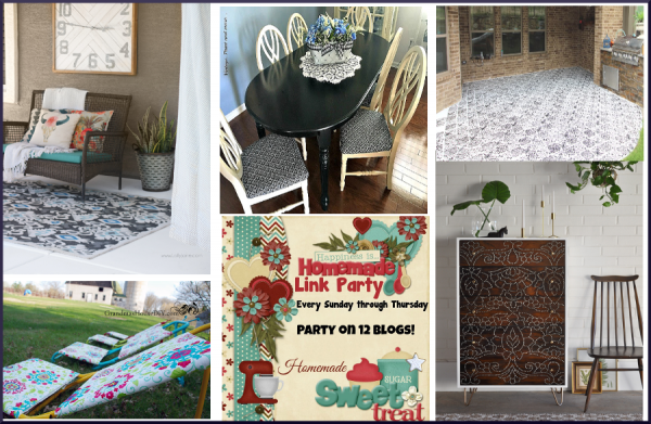 Welcome back to this week's Happiness is Homemade Link Party! Need some inspiration for your home? Check out this week's project ideas. From painting furniture to painting the patio. Maybe one of these projects will inspire you.Be sure to check out this week's features and the other awesome new posts from your hosts and fellow bloggers and have an awesome week ahead!