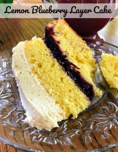 This Lemon Blueberry Layer Cake is filled with fresh lemon flavor, a layer of delicious blueberries, and topped with a light lemony frosting.  Perfect for any occasion that calls for a sweet treat.