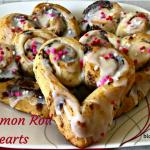 Cinnamon Rolls Hearts, baking, Valentine's Day