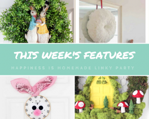 DIY Spring Wreaths featured on Happiness is Homemade Link Party