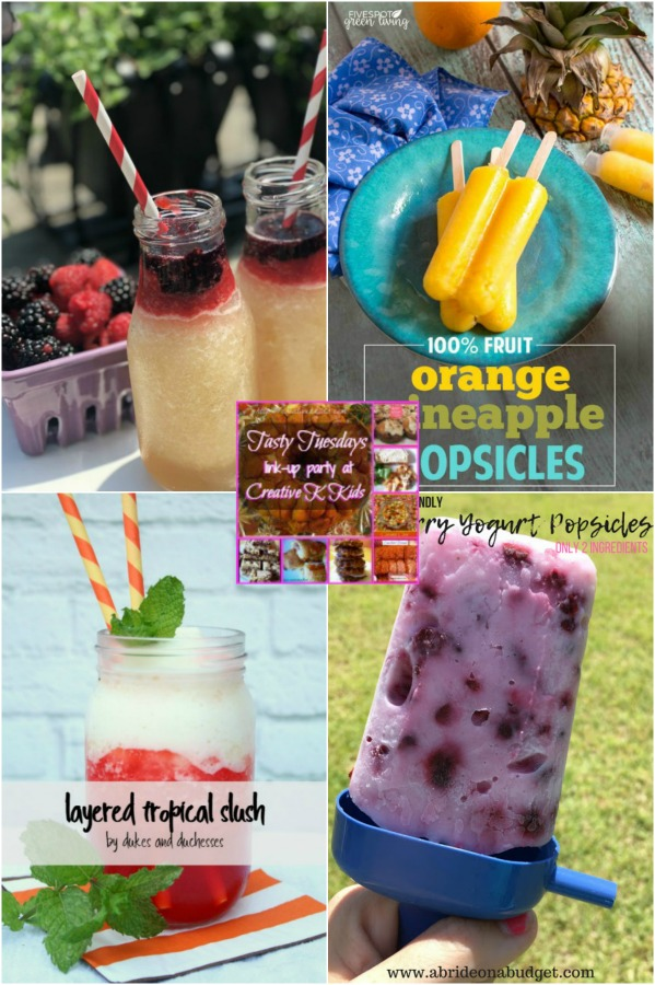 Full blown summer heat mode, and I don't know about ya'll, but fall can come any time now!  To get us through it, I've chosen some delicious Summer Frozen Drinks and Treats to feature for this week's Tasty Tuesdays' Link Party.