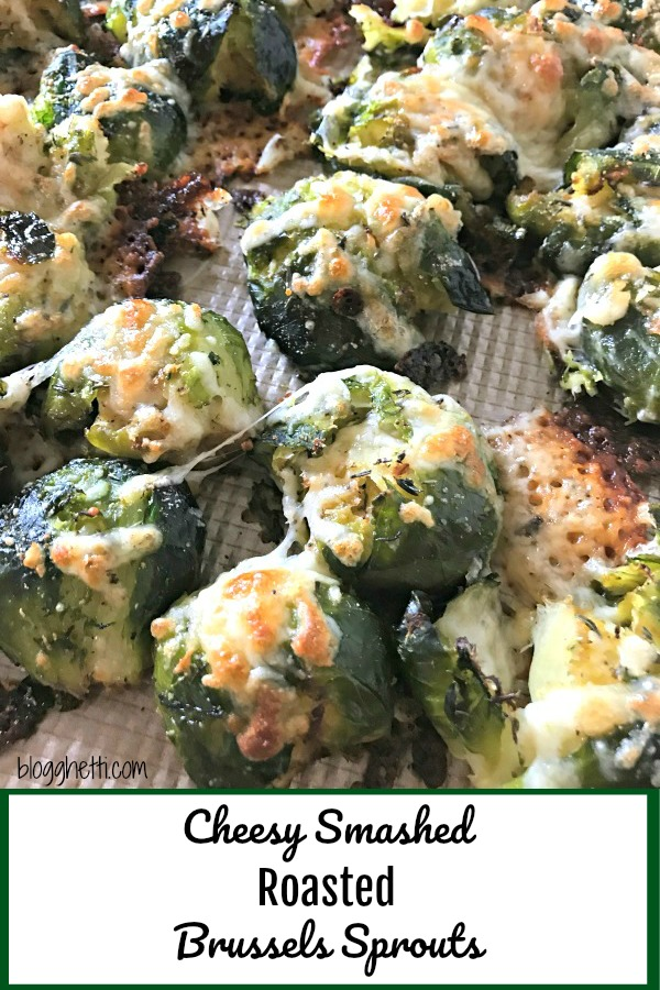 Cheesy Smashed Roasted Brussels Sprouts - pin