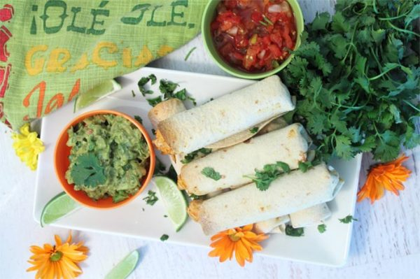 Baked Creamy Chicken Taquitos - 2 Cookin Mamas