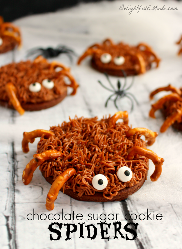 Chocolate Sugar Cookie Spiders from Delightful E Made