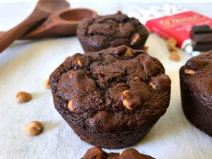 Double Chocolate Peanut Butter Muffins with Divine Chocolate