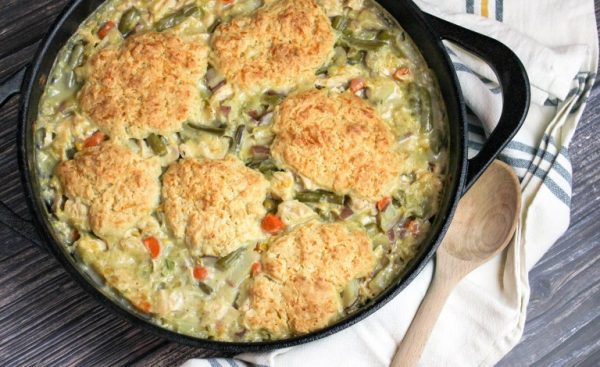 Turkey pot pie with cheddar biscuits - cheese curd in paradise