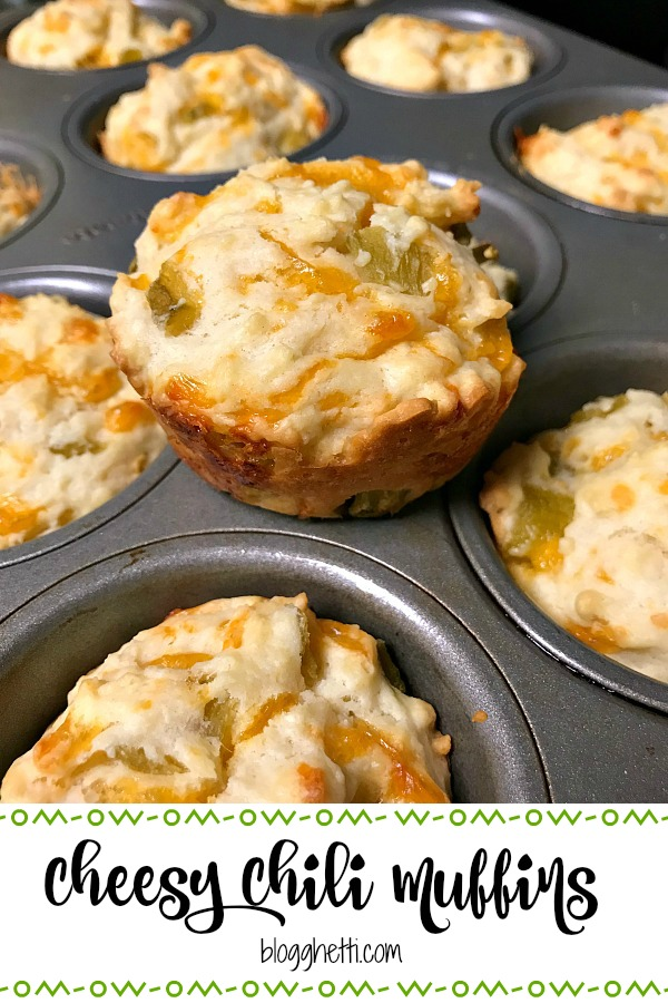 These tasty cheesy chili muffins are baked with sharp cheddar cheese and green chiles and are perfect to serve along side chili or a Tex-Mex meal. #cheese #muffins #chili #pinterestchallenge.