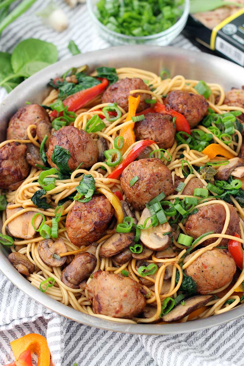 20-Minute-Lo-Mein-with-Chicken-Teriyaki-Meatballs - Bowl of Delicious