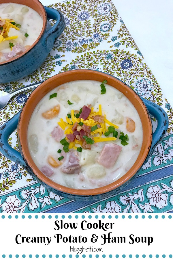 This Slow Cooker Creamy Potato and Ham Soup is hearty, delicious, and easy to make. Comfort food that is loaded with ham, potatoes, and veggies all slow cooked in a tasty and creamy broth. #slowcooker #crockpot #soup #potato #ham