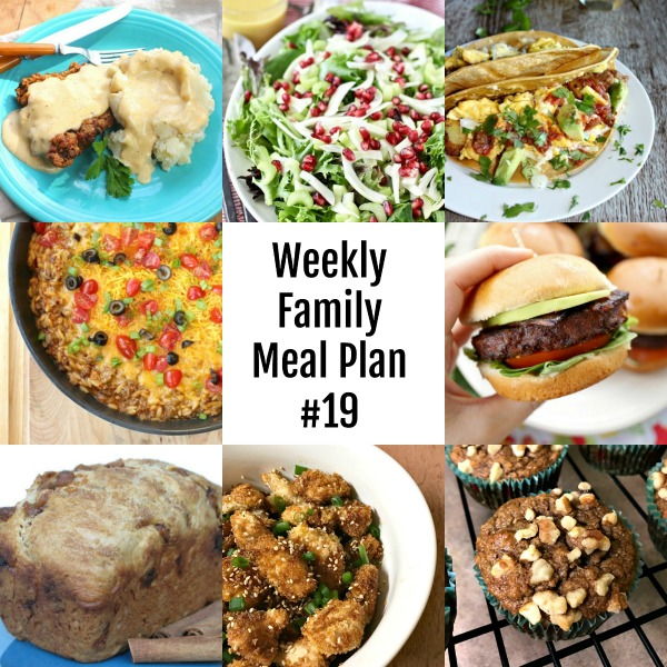 Here's this week's Weekly Family Meal Plan! My goal is to make your life just a bit easier. You'll find a variety of dinner ideas sure to please even the pickiest eater.  #mealplan #menu #dinner #weeklyfamilymealplan