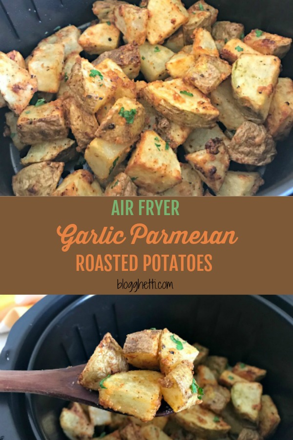 Air Fryer Garlic Parmesan Roasted Potatoes are a quick and simple side dish ready in 20 minutes, perfect with dinner or breakfast. #airfryer #potatoes #roasted #garlic #parmesan