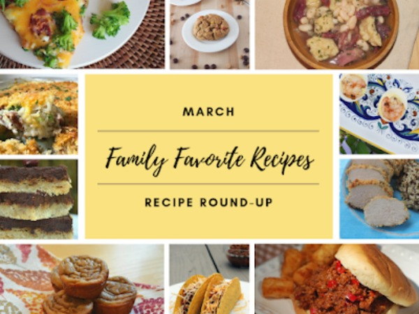 collage of family favorite foods for March