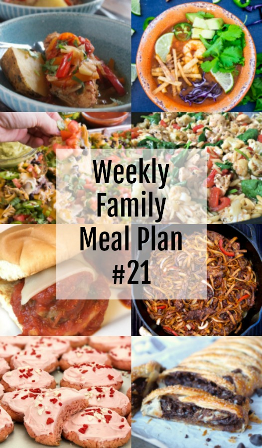 Here's this week's Weekly Family Meal Plan! My goal is to make your life just a bit easier. You'll find a variety of dinner ideas sure to please even the pickiest eater. #mealplan #mealprep #weeklyfamilymealplan #dinner