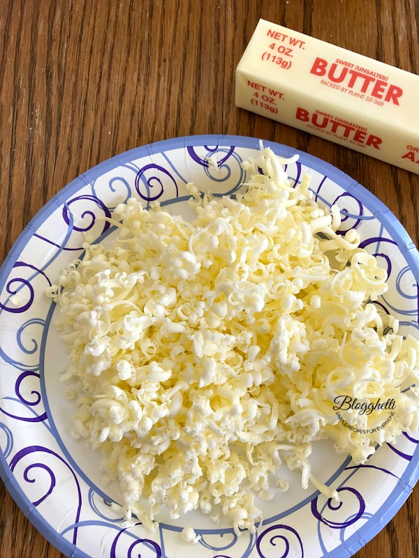 plate of grated frozen butter