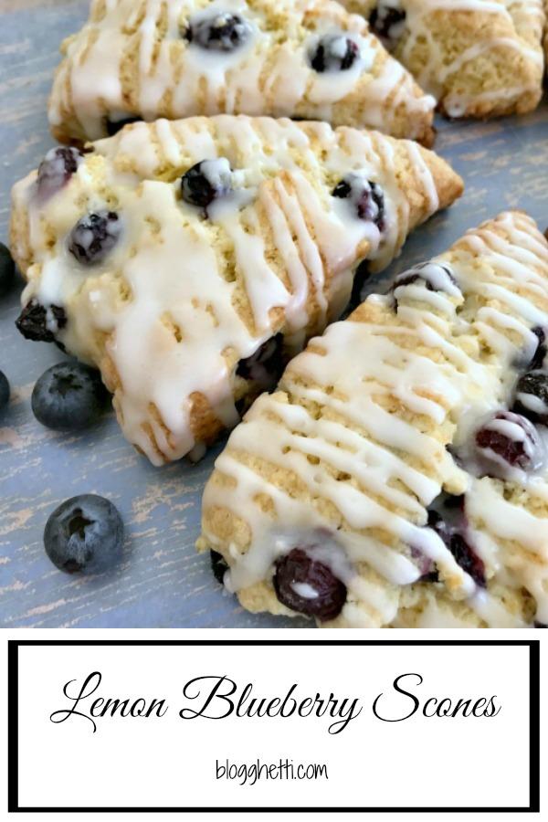 lemon blueberry scones close up for a pinterest image