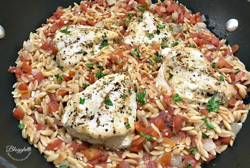One Pot Italian Chicken with Orzo in skillet