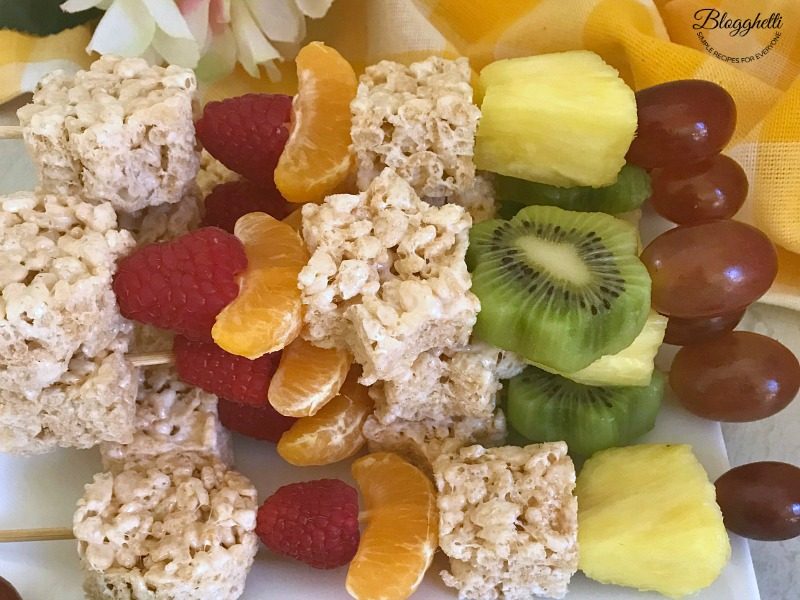 Spring Fruit and Rice Krispies Treat Kabobs close up
