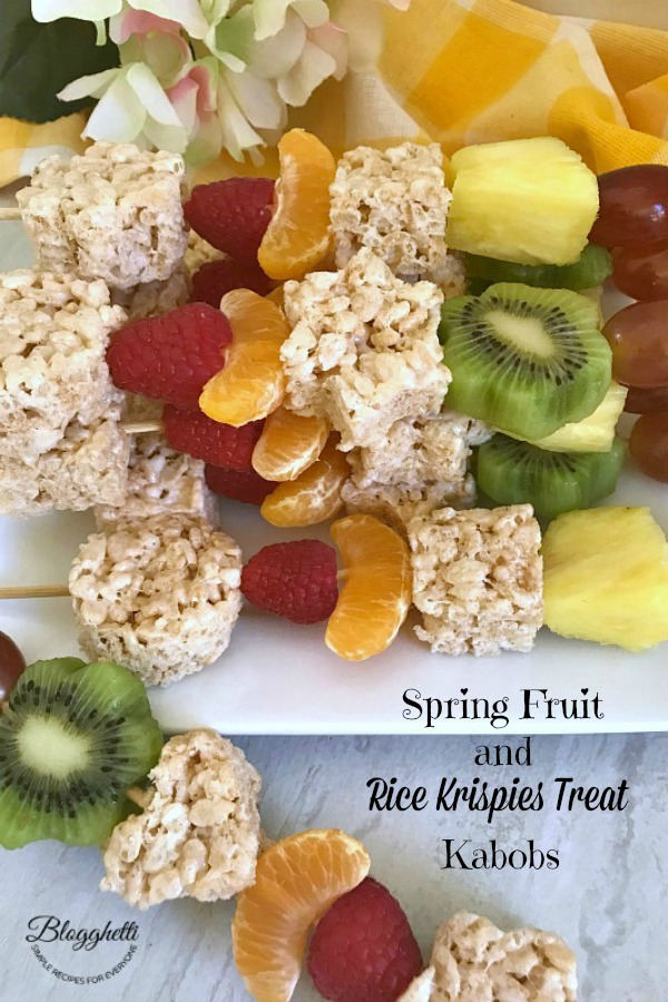 Spring Fruit and Rice Krispies Treat Kabobs on plate - pinterest image