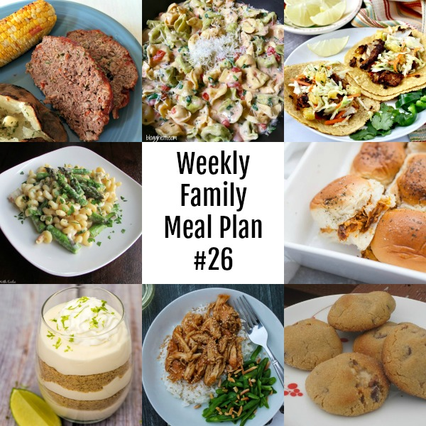 Weekly Family Meal Plan #26 collage