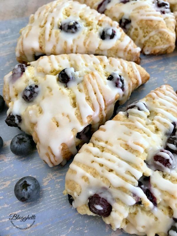 close up of lemon blueberry scones