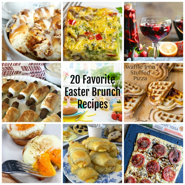 collage of 20 favorite Easter brunch recipes - sq