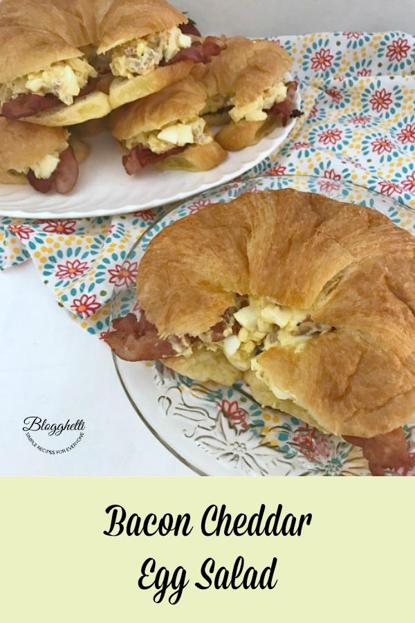 Bacon Cheddar Egg Salad Sanwiches on crossiants